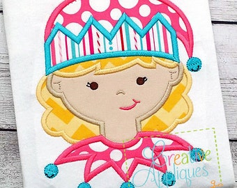 Elf Girl Digital Machine Embroidery Applique Design 4 Sizes, elf applique, applique elf, santa's helper applique
