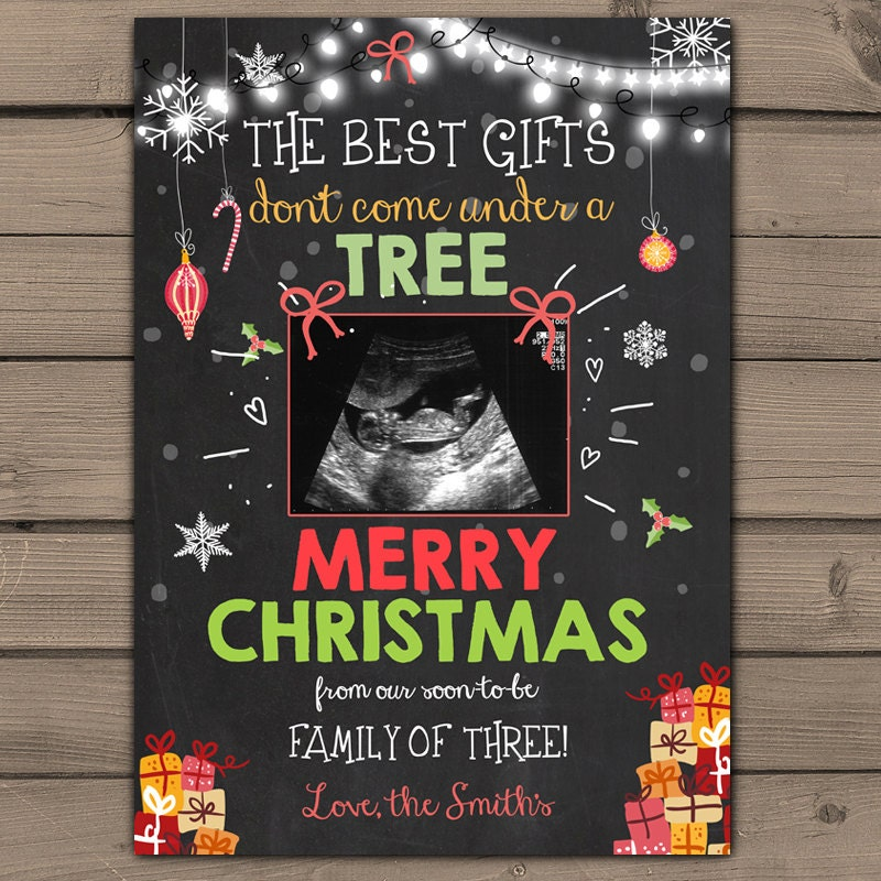 Christmas pregnancy announcement Chalkboard pregnancy – Ultrasound Baby Announcements
