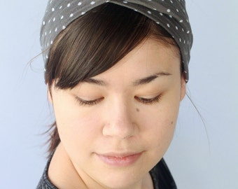 Gray Polkadot Headband, Stretchy Turban twist.