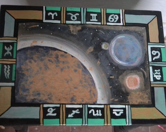 Zodiac Solar system Table- Small side table - Painted furniture
