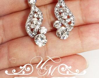 Wedding Jewelry Wedding Earrings Bridal Earrings Bridesmaids Earrings Teardrop Earrings Swarovski Pearl Rhinestone Lace earrings - ZANA