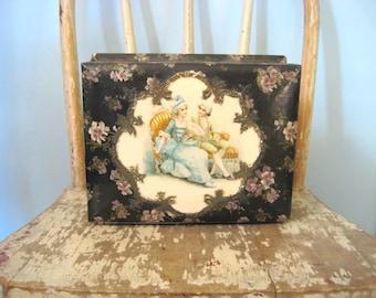 Vintage Victorian Celluloid box. Shabby decor.