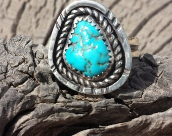 Kingman Turquoise Ring, adorned and crafted in sterling silver