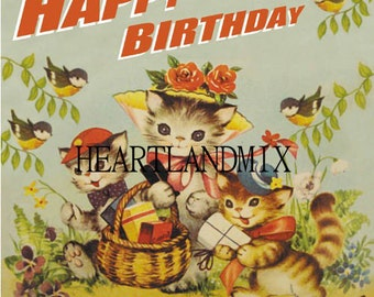 Happy Birthday Kittens Vintage Digital Image