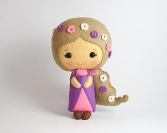 Felt doll Rapunzel, Little Rapunzel, wool felt doll,  plushie princess doll