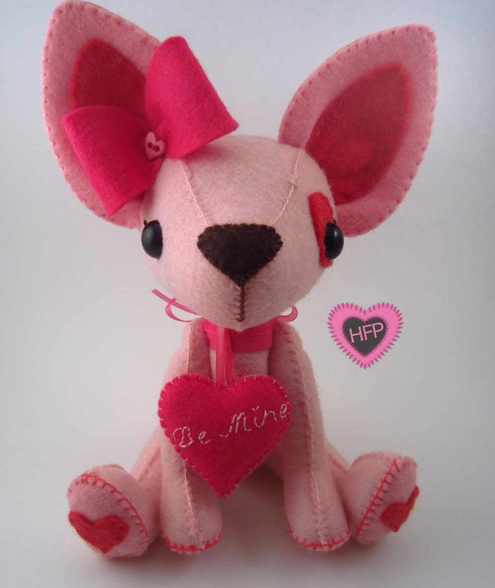 Dog Valentine Toys : Stuffed dog valentine s day chihuahua toy pink