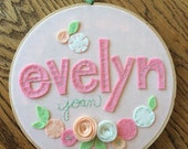 "8"" FELT NAME with FLOWERS- Personalized Girl's Name Embroidery Hoop Art made with Felt Flowers and Patterned Fabric by Miss Tweedle"