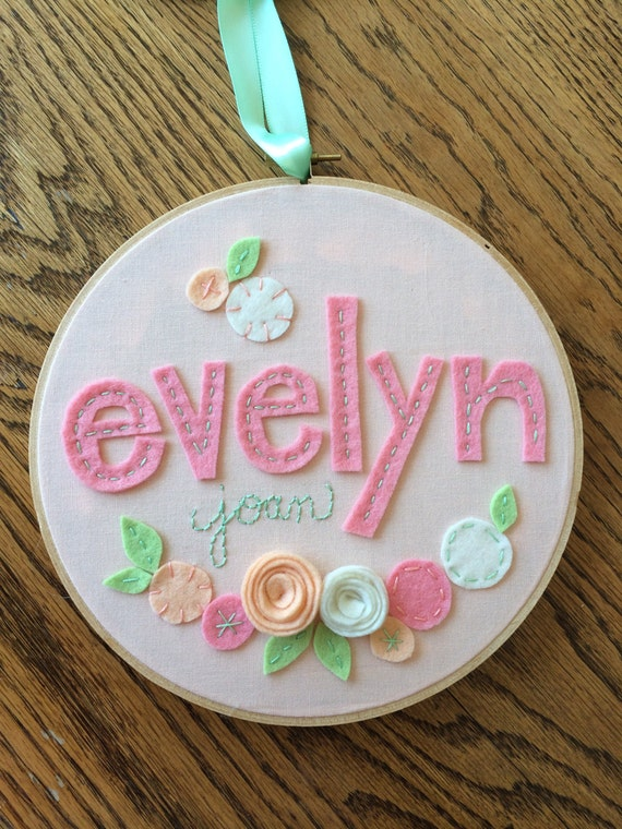 Felt name with flowers personalized girl s by