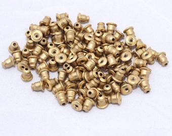 100 Pcs Raw Brass Earring backs - Earring Stopers - Earnuts - (6x5mm) Earring Posts , CMR35