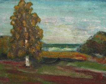 Vintage Bulgarian art landscape oil painting