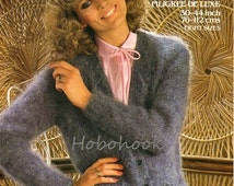 Womens Knitting Pattern Ladies mohair cardigan v neck pockets  30-44 inches 10 Ply mohair Ladies Knitting Pattern - PDF instant download