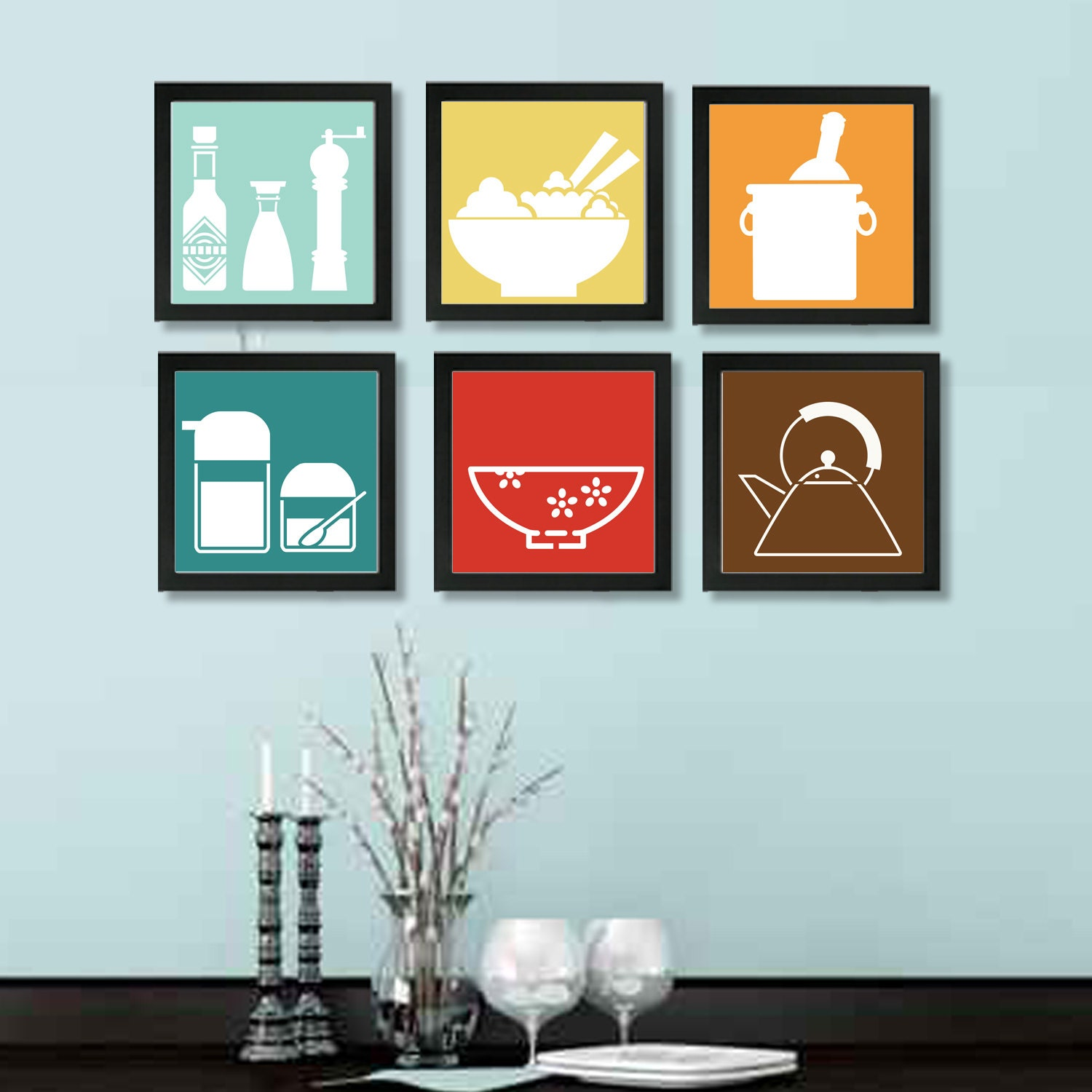 Kitchen wall art kitchen wall decor kitchen print set for Art prints for kitchen wall