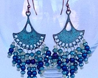 Asian Style Verdigris Chandelier Earrings