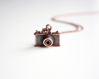 Dainty Copper Camera Charm Necklace