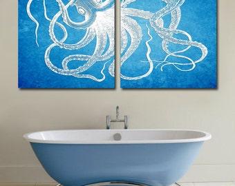 Octopus Art, Octopus Print, Octopus Wall Art, Octopus Printable, Octopus Digital, Nautical Art print, Nautical decor, Bathroom Decor 2 8*10