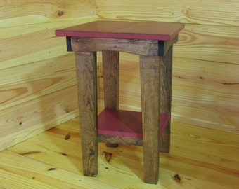 Red Side Table, Night Stand, Stained, End Table, Rustic, Bedside Table, Patio Table, Reading Table, Farmhouse, Handmade