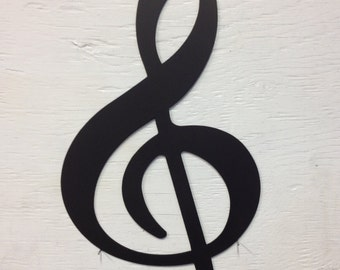 "Metal Treble Clef Wall Silhouette 7.5"" x 14"""