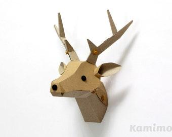 Paper Craft Kit / LE PAPER GO - Deer Head Trophy - Kraft Paper