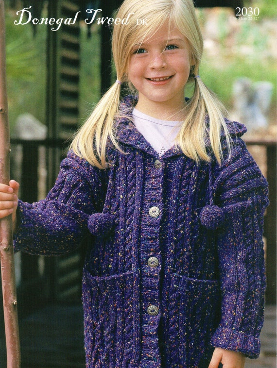 Knitting Pattern Hooded Cardigan : girls hooded coat knitting pattern cable cardigan with ...