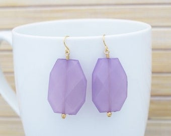 Light Purple Drop Earrings, Lavender Statement Fashion Bold Colorful Large Earrings, Purple Chunky Bead Statement Fashion Jewelry