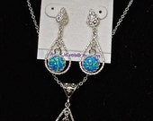 Blue Opal Pendant Set.Handmade Sterling Silver setting.Blue Opal earrings.Great Bridal Jewelry or Bridesmaids necklace/earring set. Sterling