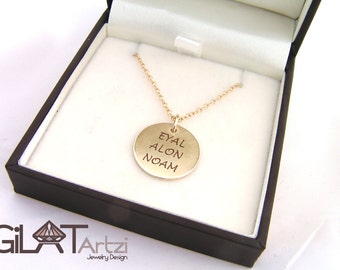Gold name charm necklace ,Gold mothers necklace,14k Gold Personalized Name Necklace Solid Gold Children's Names Mother's Gift