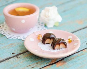 Chocolate Caramel Candy Earrings, Candy Earrings