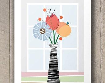 Mid Century Modern Flowers, Modern Art, Kitchen Decor, Kitchen Art, Kitchen Print, Retro Poster, Size A2 or 16x20