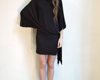 Black knit asymmetrical dress