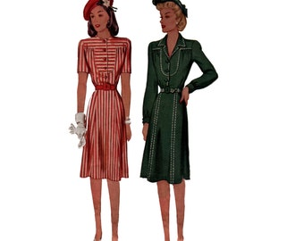 40s Bib Front Day Dress vintage pattern 36-30-39 Gored Skirt Shirt Dress