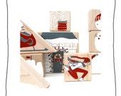 winter wooden blocks- stackable toy - art
