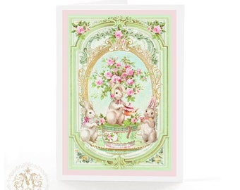 Rabbit tea party card in mint green and pink, for Easter, birthday, new baby and shower tea, blank inside