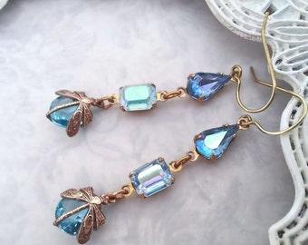 Aquamarine Blue dragonfly earrings,  Art Deco dangle earrings, dragonfly drop earrings Blue topaz dragonfly jewelry aqua blue insect jewelry