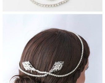 Bridal Hair Vine Crystal Wedding Hair Accessory Rhinestone Bridal Halo Headband Silver Wedding Hair Piece  URSULA