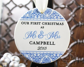 Couples Ornament Personalized First Christmas Ornament Wedding Christmas Ornament  Newlywed Gift - Jazzy Damask Pattern-Choice of 26 Colors