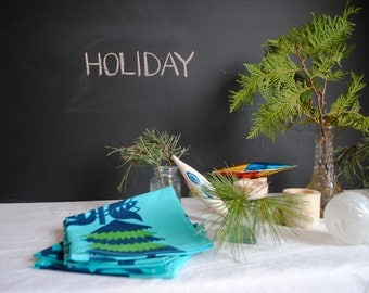 Marimekko Cloth Napkins- Modern Christmas Decor- Turquoise Blue, Magic Forest, Festive Christmas Tree Napkins
