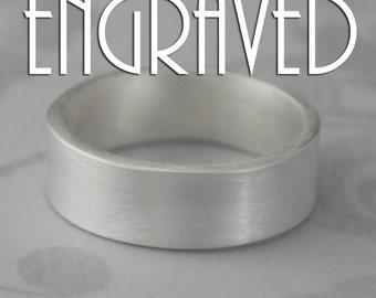 Engraved Wedding Band~Silver Wedding Band~Names in Ring~Silver Wedding Ring~Wedding Date Ring~7mm Wide Band~Straight & Narrow~Flat Edge Band