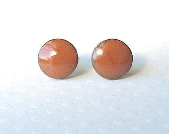 Small Stud Earrings. Round. Rust. Sienna. Clay. Black Porcelain. Burnt Orange. Earth Tone. Ceramic. Post Earrings. Surgical Steel. Simple