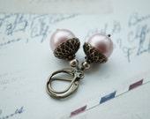 Pink Acorn Woodland Swarovski Powder Matte Pink Pearls Earrings. Bride's Earrings. Bridesmaids Earrings.  Vintage Wedding. Rustic Dusty Pink