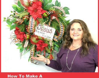 Video How To Make a Silk Flower Christmas Wreath Full Length Downloadable Video