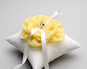 Yellow ring pillow, wedding bearer, flower girl, canari pillow - Adina