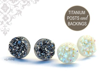 Glitter Stud Titanium Earrings, Dark Silver and Ivory AB Resin Drusy Earrings, 12mm, Faux Druzy with Titanium Posts, 2 Pair Set