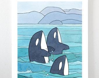 Orcas Watercolor Print, 11x14 Illustration. Killer Whales