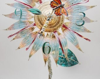 Monarch Butterfly Flower Clock Sculpture