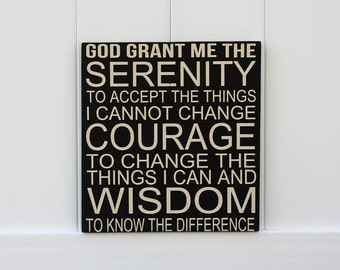 Serenity Prayer // Hand-Painted Wooden Sign // Christian Wall Art // Prayer Signs // Strength Signs // Inspirational Sign //
