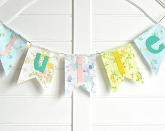 Vintage Linen Fabric Name Banner Decorations or Backdrop Decorations / Whimsical and Handmade Vintage Personalized Name Banner
