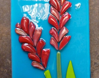 Red Ginger Wall Art Shelly Batha Island Fused Glass Hawi Hawaii Local Art