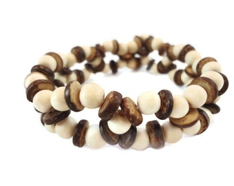 Brown Coconut Bracelet White Wood Bead Bracelet Woven Design, White Bracelet Brown Beadwork & Button Clasp, Unusual Bracelet Coconut Jewelry