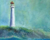 Original Art Lighthouse by the Shore, Water Landscape Painting