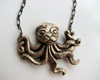 octopus pug dog necklace surreal animal jewelry